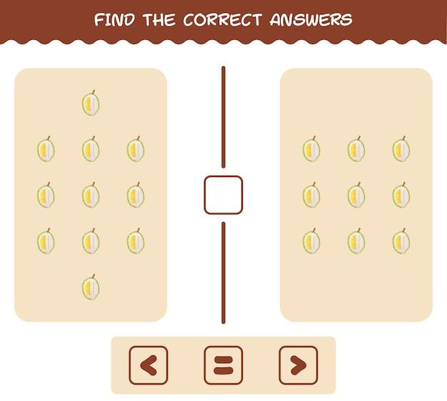 Finden sie die richtigen antworten von cartoon durian. such- und zählspiel. lernspiel für kinder und kleinkinder vor der schule