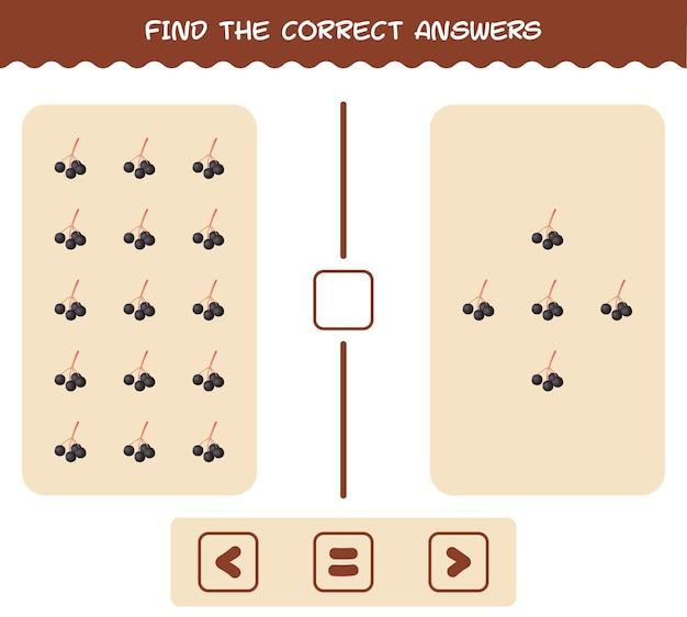 Finden sie die richtigen antworten von cartoon holunder. such- und zählspiel. lernspiel für kinder und kleinkinder vor der schule