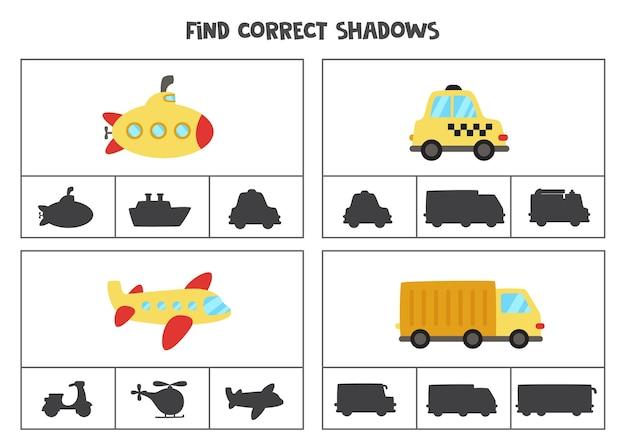 Finden sie die richtigen schatten der cartoon-transportmittel. clipkarten für kinder im vorschulalter.