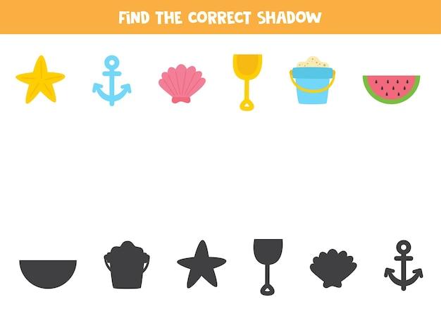 Finden sie die richtigen schatten der sommerartikel. logisches puzzle für kinder.