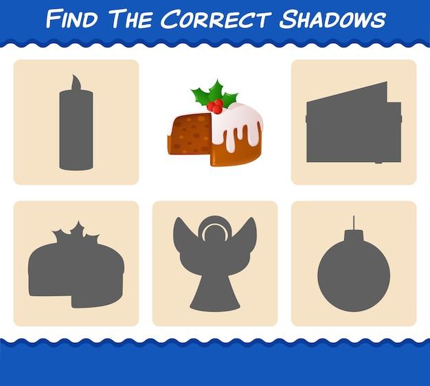 Finden sie die richtigen schatten des weihnachtskuchens. suchen und matching-spiel. lernspiel für vorschulkinder und kleinkinder