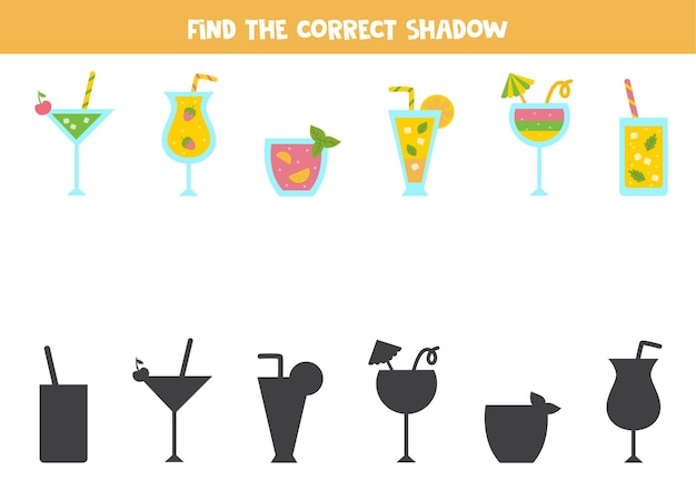 Finden sie die richtigen schatten von bunten sommercocktails. logisches puzzle für kinder.