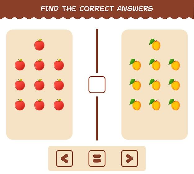 Finden sie die richtigen schatten von comic-früchten. such- und matching-spiel. lernspiel für kinder und kleinkinder