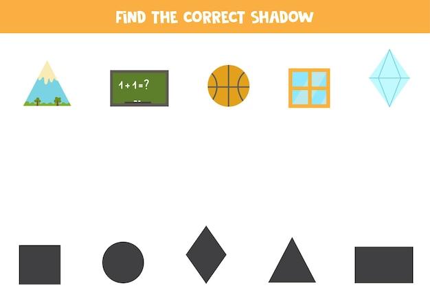 Finden sie die richtigen schatten von geometrischen objekten. logisches puzzle für kinder.