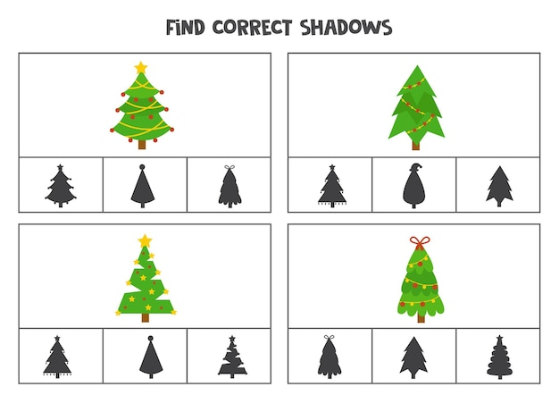 Finden sie die richtigen schatten von niedlichen grünen weihnachtsbäumen. clipkarten für kinder im vorschulalter.