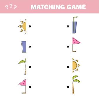 Finden sie die richtigen teile von gegenständen, bildungsspiel für kinder. bunte vektor-objekte für einen sommerurlaub - passendes spiel