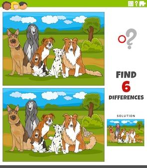 Finden sie die unterschiede zwischen bildern lernspiel mit reinrassigen hunden