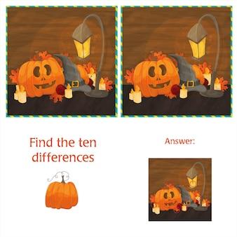 Finden sie die zehn unterschiede zwischen den beiden bildern mit halloween-kürbissen