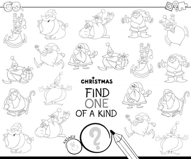 Finden sie eines von einem freundlichen weihnachtsmann-farbbuch