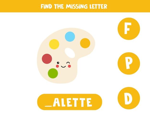 Finden sie fehlenden buchstaben. süße kawaii-palette. pädagogisches rechtschreibspiel für kinder.