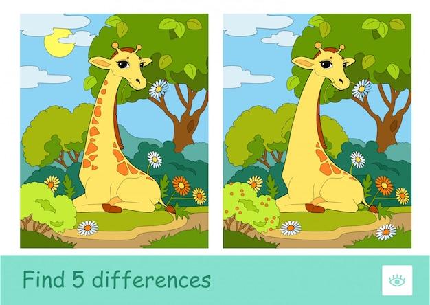 Finden sie fünf unterschiede quiz kinderspiel mit dem bild einer giraffe, die eine blume isst, die in einem wald sitzt. wilde tiere, säugetiere und pflanzenfresser vorschulkinder illustrationen und entwicklungsaktivität.