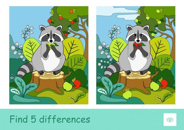 Finden sie fünf unterschiede quiz lernen kinderspiel mit einem waschbären, der einen apfel isst, der auf einem baumstumpf in einem wald sitzt. buntes bild von wilden tieren. entwicklungsaktivität für kleine kinder.