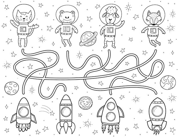 Finden sie für jeden tierastronauten einen richtigen weg zu den raketen schwarz-weißes weltraumlabyrinth für kinder