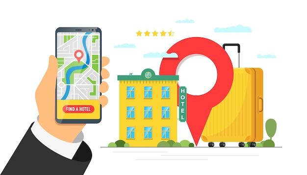 Finden sie hotel- und buchungs-online-service für das konzept der urlaubstourismus-app. mobiles such- und reservierungsbanner für reisewohnungen. motel-gepäckkoffer und standortstift auf smartphone-vektorillustration