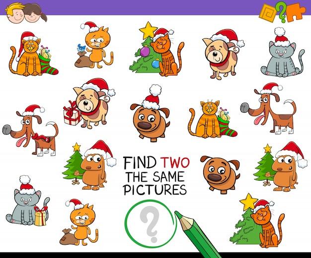 Finden sie identische bilder aktivität mit weihnachten haustiere