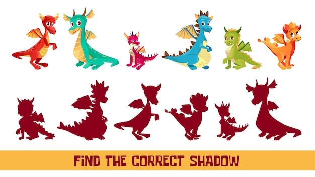 Finden sie korrekte schattenkinderpuzzlespielillustration. cartoon kinder quiz spiel um schatten zu entsprechen