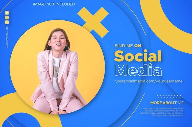 Finden sie mich auf social media banner hintergrund mit kreis design