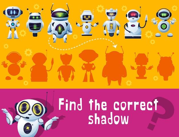 Finden sie roboterschatten, spiel für kinder, tischplatte oder brettspiel