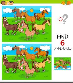 Finden sie sechs unterschiede spiel mit pferden