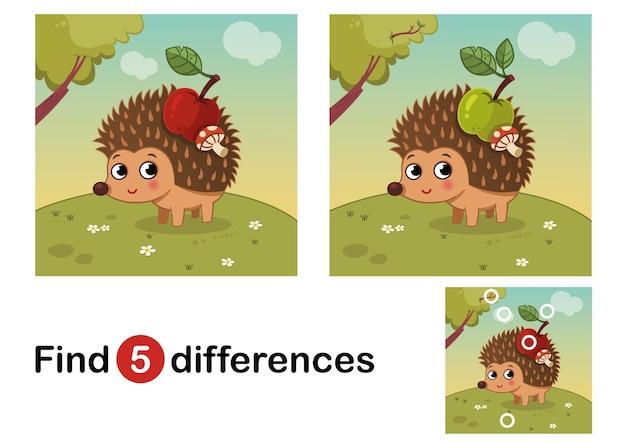 Finden sie unterschiede bildungsspiel für kinder igel in der natur vector illustration
