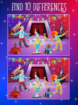 Finden sie unterschiede kinderspiel mit zirkusclowns auf der bühne. vektorpuzzle von gehirntraining, gedächtnis- und aufmerksamkeitsrätsel, bildungsarbeitsblattvorlage mit chapiteau-clowns, magier, affe und raketenmann