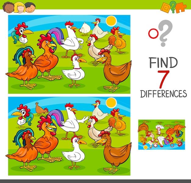 Finden sie unterschiede spiel mit hühnern tierfiguren