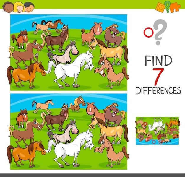 Finden sie unterschiede spiel mit pferden tierfiguren