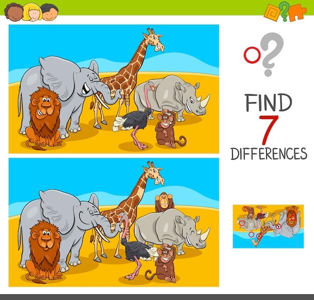 Finden sie unterschiede spiel mit safaritieren