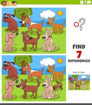 Finden sie unterschiede zwischen bildern mit cartoon-hunden