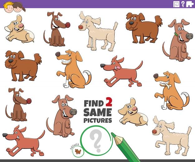 Finden sie zwei gleiche hundecharakteraufgabe für kinder