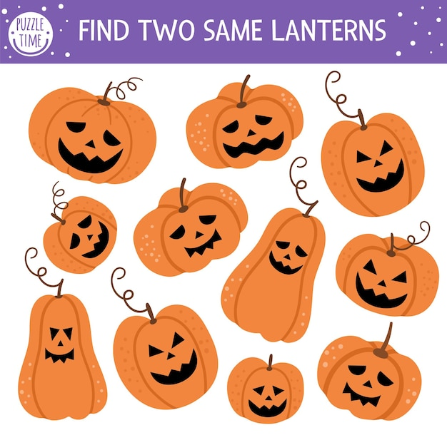 Finden sie zwei gleiche kürbislaternen. passende halloween-aktivität für kinder. lustiges pädagogisches herbst-quiz-arbeitsblatt für kinder. einfaches spiel zum ausdrucken mit gruseligen kürbislaternen