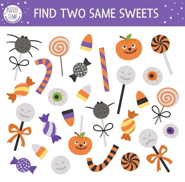 Finden sie zwei gleiche süßes oder saures. passende halloween-aktivität für kinder. lustiges pädagogisches herbst-quiz-arbeitsblatt für kinder. einfaches druckbares spiel mit gruseligen lutschern, süßigkeiten