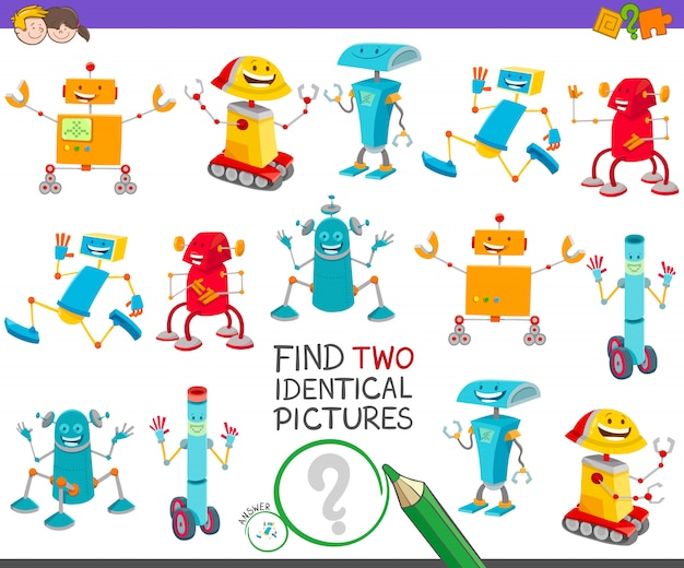 Finden sie zwei identische bilder lernspiel für kinder