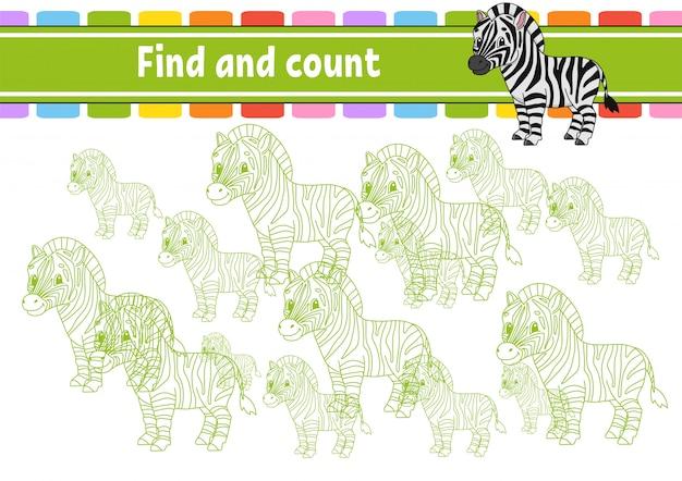 Finden und zählen. arbeitsblatt zur bildungsentwicklung. aktivitätsseite mit bildern.