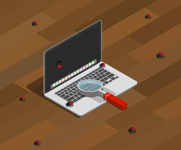 Finden von fehlern auf der computerprogrammierung mit laptop