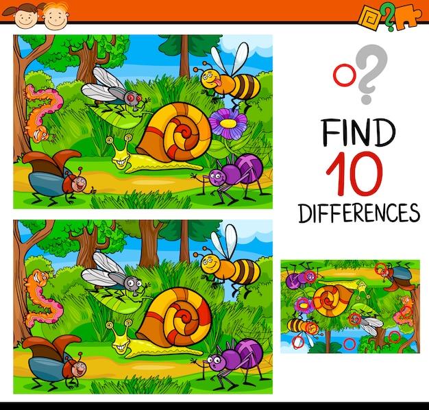 Finden von unterschieden spielkarikatur