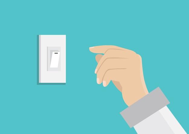 Finger, der schalter für energie sparen drückt.