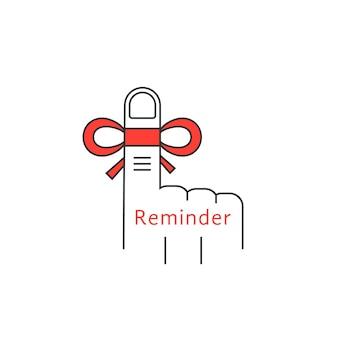 Finger-erinnerung dünne linie symbol. konzept von nicht vergessen, amnesie, palme, sklerose, immer im hinterkopf behalten, termin. lineare stiltrend moderne logo-design-vektor-illustration auf weißem hintergrund