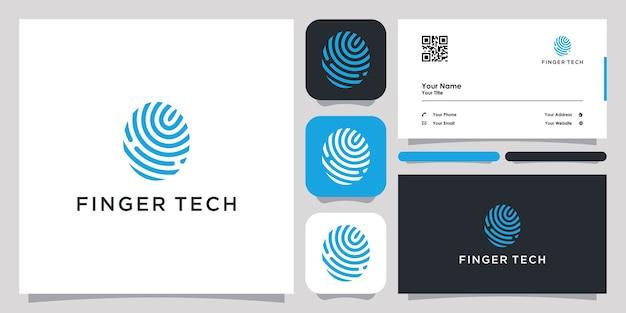 Finger tech logo mit strichgrafik design icon vorlage