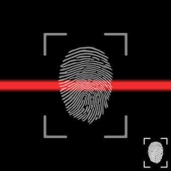 Fingerabdruck auf dem scanbildschirm. fingerabdruckscan.