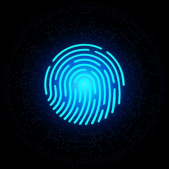 Fingerabdruck blaues neon auf dunklem hintergrund