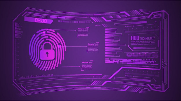 Fingerabdruck-hud geschlossenes vorhängeschloss auf digitalem hintergrund, cybersicherheit