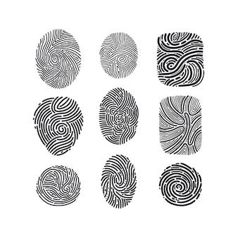 Fingerabdruck-identifikation gezeichneter satz abstrakte biometrische menschliche daumenlinien impressum skizze