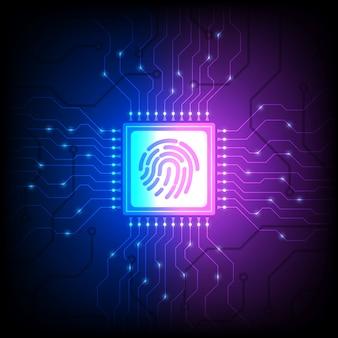 Fingerabdruck-identitätssensor, smartphone entsperren, isometrische illustration