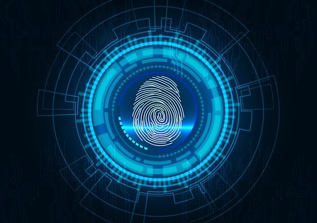 Fingerabdruck mit blauem abstraktem technologiehintergrund des konzeptes