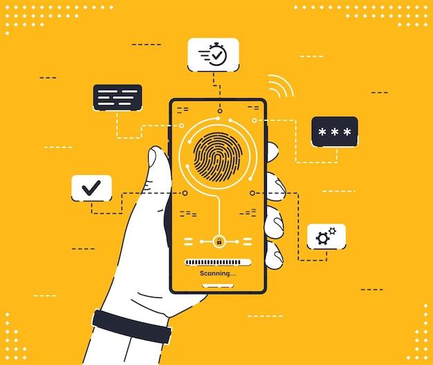 Fingerabdruck-scan auf mobiltelefon menschliche hand, die ein gadget mit biometrischer scantechnologie hält