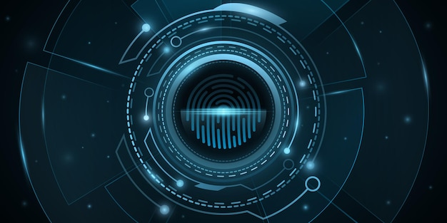 Fingerabdruck-scan und digitales hud mit lichteffekten. biometrische überprüfung. hintergrunddesign für den netzwerkschutz. futuristische, science-fiction-benutzeroberfläche. onlinesicherheit. vektor-illustration