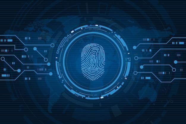 Fingerabdruck scannen cybersicherheit und passwortkontrolle durch zugriff auf fingerabdrücke mit biometrischer identifikation