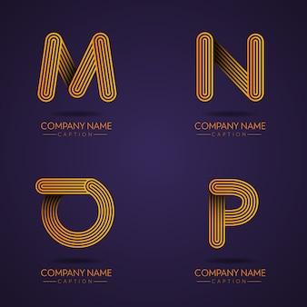 Fingerabdruck-stil professional letter mnop logos