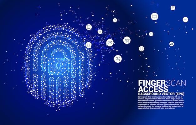 Fingerabdruck-symbol mit der mitte des sperrblocks vom punkt-verbindungslinien-polygon. hintergrundkonzept für finger-scan-technologie und zugriff auf die privatsphäre.